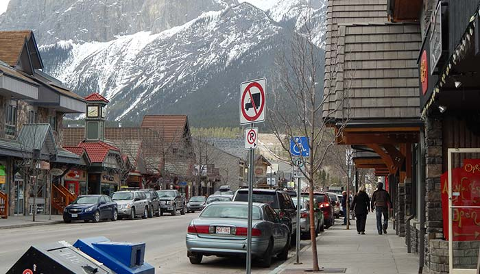 An image of beautiful downtown Canmore in the Spring